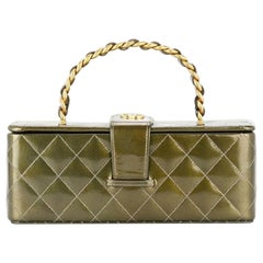 Chanel Case Clutch Box Rare Vanity Minaudière Mini Trunk Jewelry Deep Green Tote