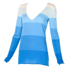 Chanel Cashmere Blue Color Blocked Sweater 2005C