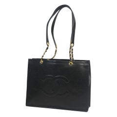 CHANEL chain tote bag coco mark Womens shoulder bag black x gold hardware