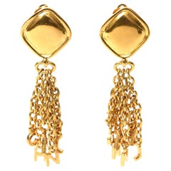 Chanel Charm Dangle Clip On Earrings Vintage