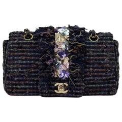 Chanel Classic Flap Vintage Jeweled Sequin Fringe Navy Blue Tweed Shoulder Bag