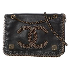 Chanel Classic Shoulder Chain Flap Black Calfskin Leather Cross Body Bag