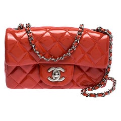 Chanel Coral Patent Leather New Mini Classic Flap Bag