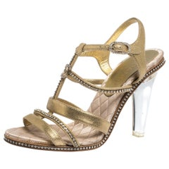 Chanel Crystal Embellished Suede Lucite Heel Strappy Sandals Size 37