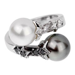 Chanel Diamond White Black Pearl Bypass Ring