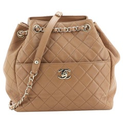 Chanel Drawstring CC Lock Bucket Bag Quilted Lambskin Small