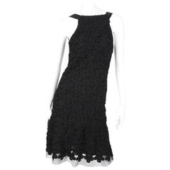 Chanel Fall/Winter 2005 Black Floral Crotchet Camelia Wool Mesh Dress