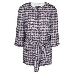 Chanel Fantasy Fringe Lesage Tweed Houndstooth Belted Jacket Coat