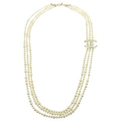 Chanel Faux Pearl Triple Strand Long Logo Charm Statement Evening Necklace W/Box