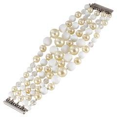 Chanel Five Strand Pearl Beaded Bracelet