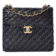 Chanel Flap Vintage 90s Mini Wicker Straw Classic Black Rattan Cross Body Bag