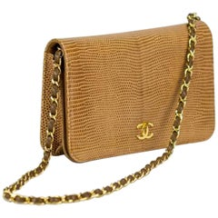 Chanel Flap with Top Handle Clutch Exotic Convertible Caramel Lizard Skin Bag