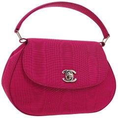 Chanel Fuschia Pink Silver Top Handle Satchel Kelly Style Evening Party Bag