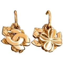 Chanel Gold CC Lucky Clover Runway Earrings