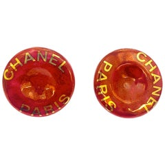 Chanel Gold CC Mini Button red Earrings, 1997