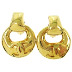 Chanel Gold Charm CC Large Round Doorknocker Dangle Drop Evening Hoop Earrings
