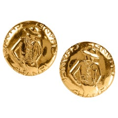 Chanel Gold Coco Round Earrings