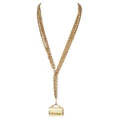 Chanel Gold Flap Bag Pendnt Triple Chain Necklace