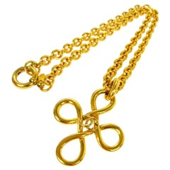 Chanel Gold Smooth Curly Cross Charm CC Evening Drop Drop Chain Necklace