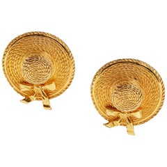 Chanel Gold Straw Hat Vintage Earrings