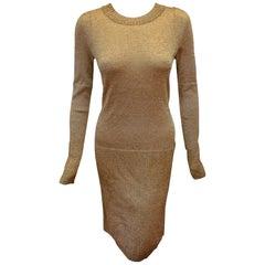 Chanel Gold Tone Metallic Long Sleeve Fall 2009 Runway Sweater Dress