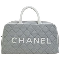 Chanel Gray Canvas Leather Top Handle Tote Travel Carryall Bowling Bag in Box