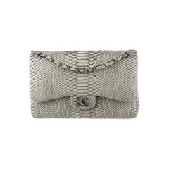 Chanel Gray Snakeskin Exotic Skin Leather Silver Evening Shoulder Flap Bag