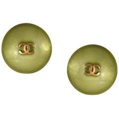 Chanel Green CC Button Earrings