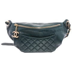 Chanel Green Lambskin Leather Bi Classic Waist Bag