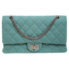 Chanel Green Quilted Jersey Reissue 2.55 Classic 227 Flap Bag