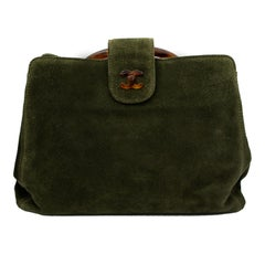 Chanel Green Suede and Lucite Handbag