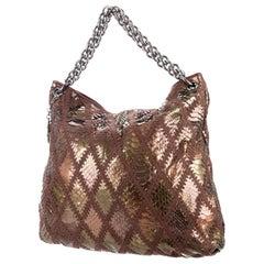 Chanel Handbag Clutch Rare Exotic Large 2 In 1 Tote & Metallic Bronze Hobo Bag