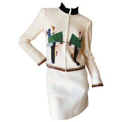 Chanel Ivory Tweed Embroidered Sequins CC Logo Button Jacket Skirt Suit