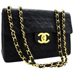 "CHANEL Jumbo 13"" Maxi 2.55 Chain Flap Shoulder Bag Lambskin Black"