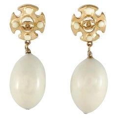 Chanel Maltese Cross Pearl Drop Clip On Earrings