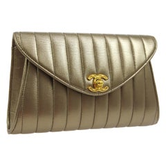 Chanel Metallic Gold Leather Bronze Envelope Evening Slip Hand Clutch Flap Bag
