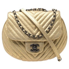 Chanel Metallic Gold Leather Chevron Coco Twin Bag