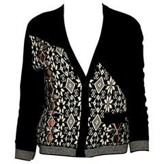 Chanel Monochrome CC Logo Intarsia Cashmere Knit Embellished Cardigan Jacket