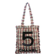 Chanel NEW 5 Black Red White Tweed Carryall Beach Travel Shoulder Tote Bag