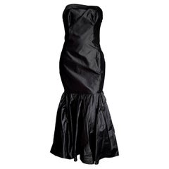 "CHANEL ""New"" Haute Couture Strapless Anthracite Silk Gown - Unworn"