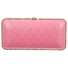 Chanel NEW Light Pink Leather Gold 2 in 1 Chain Evening Shoulder Clutch Bag