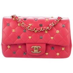 Chanel NEW Pink Leather Multi-Color Lucky Charm Small Mini Shoulder Flap Bag