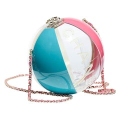 Chanel NEW Runway White Blue Pink Clear Round Ball Evening Shoulder Bag in Box