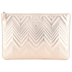 Chanel O Case Clutch Chevron Metallic Calfskin Large
