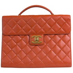 Chanel Orange Lambskin Briefcase
