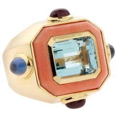 Chanel Paris Coral Topaz Cocktail Ring
