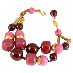 Chanel Pink Beaded Gripoix Double Strand Bracelet