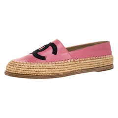 Chanel Pink Leather And Jute CC Espadrille Loafers Size 41