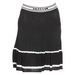 Chanel Pleated Knit Skirt With 'CHANEL' Logo Waistband