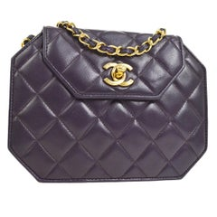 Chanel Purple Leather Gold Octagon Small Mini Shoulder Flap Bag in Box